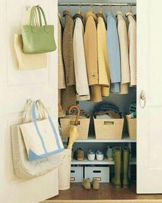 Coat closet-Shelves are a great idea