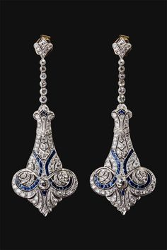 Late Art Nouveau earrings, 1910, England.