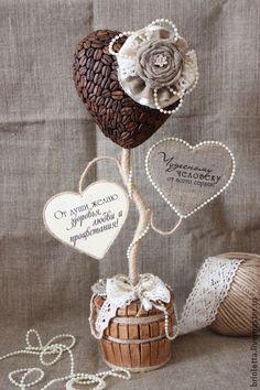 """Топиарий """"Дерево пожеланий"""" - бежевый,комплект украшений,Кофейный топиарий"""