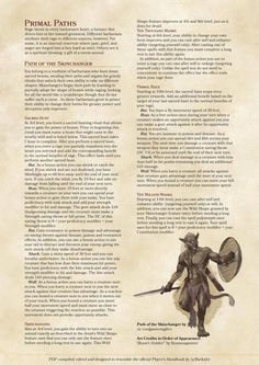 Barbarian Primal Paths: Skinchanger and Sylvan Warden Dungeons And Dragons Rules, Dungeons And Dragons Homebrew, Dnd Characters, Fantasy Characters, Barbarian Dnd, Science Fiction, Personality Archetypes, D D Races, Dnd Classes