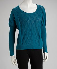 Take a look at this Teal Argyle Knit Sweater by Downtown Coalition on #zulily today!