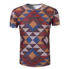 Men's 3D Printed Round Neck Short Sleeve T-Shirt