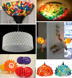 41 Lamps from recycled or discarded items: Legos, ice cream spoons, ping pong balls, doll, plastic plates, cocktail umbrellas: see also a Mac computer, empty disposable lighters, plastic coffee stirrers, chopsticks, so many great ideas!