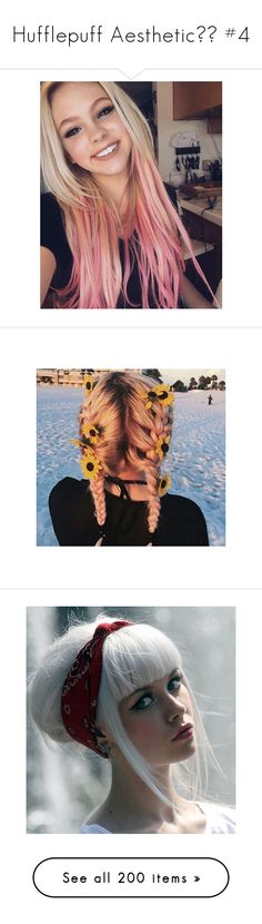 """Hufflepuff Aesthetic⚜️ #4"" by moon-crystal-wolf ❤ liked on Polyvore featuring hair, accessories, hair accessories, flower hair accessories, get lost, people, hairstyles, pictures, images and outfits"