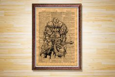 Medieval poster Axe decor Knight print by CrowDictionaryPrints