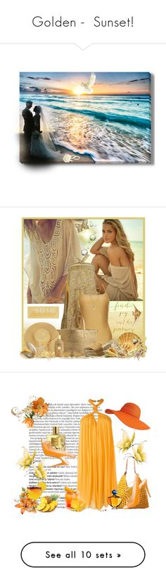 """""""Golden -  Sunset!"""" by schneerose ❤ liked on Polyvore featuring art, Therapy, Melissa Odabash, Volatile, Sun Bum, Maison Margiela, Juicy Couture, Balmain, Mar y Sol and Jay Ahr"""