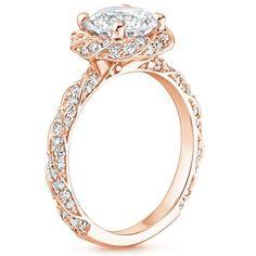14K Rose Gold Cordoba Diamond Ring, top view