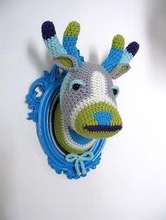 Crochet deer head in a light blue frame by ManafkaMina on Etsy, $125.00