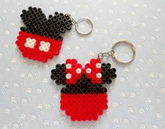 Mickey Minnie Kawaii Hama Beads Plus Perler Bead Designs, Perler Bead Templates, Hama Beads Design, Diy Perler Beads, Perler Bead Art, Pearler Beads, Fuse Beads, Hama Beads Kawaii, Melty Bead Patterns