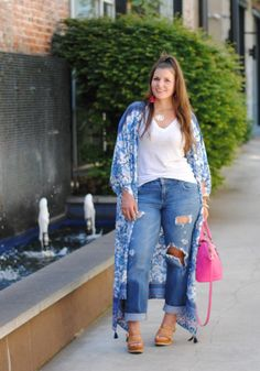 Summer Trend Alert: Maxi Kimonos # outfits # for # Women weddings # # chubby sport # fashion # # for trends 2019 # # Spring Summer Plus Size Kimono, Plus Size Jeans, Look Plus Size, Plus Size Women, Plus Size Fashion For Women Summer, Plus Size Summer Outfit, Curvy Outfits, Mode Outfits, Curvy Girl Fashion