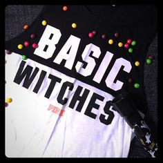 """Basic Witches muscle tank Boo! Whoever said orange is the new black is seriously disturbed! Because I think they both look fabulous together in this """"Basic Witches"""" muscle tank top from Victoria's Secret Pink. WORN ONCE. Size small. Skittles not included  Sorry, no trading please. PINK Victoria's Secret Tops Muscle Tees"""