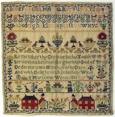 Beautiful cross stitch sampler by Marianne Wenn, England 1816 (in the Norwich Museum, England) Embroidery Sampler, Cross Stitch Embroidery, Cross Stitch Patterns, Cross Stitch Samplers, Cross Stitching, Vintage Textiles, Needlepoint, Needlework, Crochet