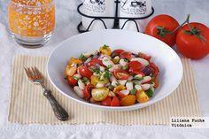 Ensalada de alubias blancas con tomates variados