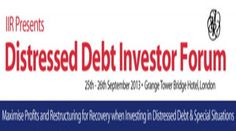 Distressed Debt Investor Forum 2013  On September 25-26th, 2013 at 9am-5 pm.  Summary:  This year's forum has been put together with expert contributions from leading distressed debt investors, private equity and hedge funds, special situations funds, and other investors.  Price: 1499.00  Category: Conferences  Artists / Speakers: Bill Hancock, Babson Capital Europe; Richard Damming, Stuart Mathieson  Venue: Grange Tower Bridge Hotel, 45 prescot street, London, E1 8GP, United Kingdom