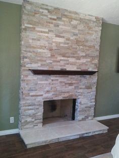 Travertine stacked stone fireplace | My designs | Pinterest ...