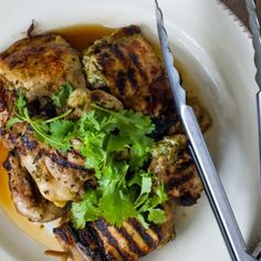 Juicy grilled chicken thighs with a south-east Asian coriander marinade - perfect with a light salad for a tasty lunch at work or dinner! Healthy Grilling Recipes, Grilled Steak Recipes, Healthy Chicken Recipes, Turkey Recipes, Mini Hamburgers, Halloumi, Pitta, All You Need Is, Chefs