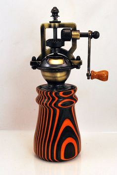 Steampunk Wood Pepper Mill Handmade Vintage Style by ASHWoodshops