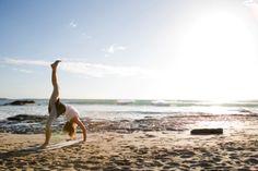 Doing 3-Legged Wheel Pose on the beach in Costa Rica #yoga #yourzenyoga #TaraLeighPhotography