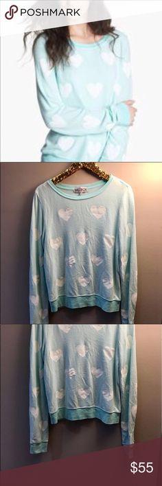 Wildfox Heart Jumper Super soft minty/sea foam/light blue jumper. Banded bottom and bottom of sleeves. White hearts. EUC. Wildfox Tops Sweatshirts & Hoodies