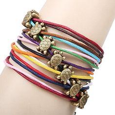 Multicolor Couro Turtle 20 centímetros Vintage Wrap Mulheres pulseira (Multicolor) (1 Pc)  – BRL R$ 17,07