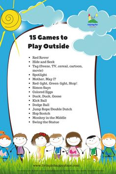 Outdoor games for kids 15 outside games straight from your childhood! - Outdoor games for kids 15 outside games straight from your childhood! 15 Games to Play Outside printable Outdoor Games To Play, Games To Play Outside, Outdoor Fun, Backyard Games, Outdoor Toys, Outdoor Games For Children, Children Games, Backyard Camping, Indoor Games