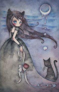 Kawaii Interview: Juri Ueda ¤ non solo Kawaii Art And Illustration, Illustrations, Fantasy Kunst, Fantasy Art, Cat Art, Cute Drawings, Painting & Drawing, Watercolor Art, Cute Pictures