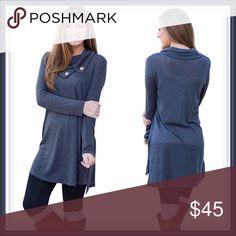 Asymmetrical cowl neck button tunic ➖NWT➖SIZE: Medium ➖Blue asymmetrical collar cowl neck with buttons tunic Entropy Tops Tunics