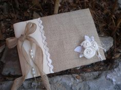 Rustic wedding guest book- burlap guest book-bridal wish book