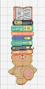 Cross-stitch Bear Bookmark ... no color chart available, just use pattern chart as your color guide.. or choose your own colors... Adoro leggere e cosa ho trovato dei simpatici schemi a punto croce per realizzare dei bellissimi segna libri ^_^