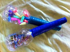 Make Some Marvelous Maracas! Water bottles, toilet paper tubes, small items from your junk drawer and tape. These fabulous maracas are a great project for a rainy afternoon. Rhythm instruments, like maracas and tambourines, highlight important features o Kids Crafts, Arts And Crafts, Toddler Crafts, Music Activities, Preschool Activities, Preschool Centers, Free Preschool, Preschool Music Crafts, Health Activities