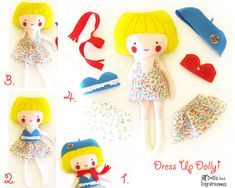 handmade doll patterns – diy PDF stuffed toy sewing patterns – make your own stuffed dollls | Small for Big