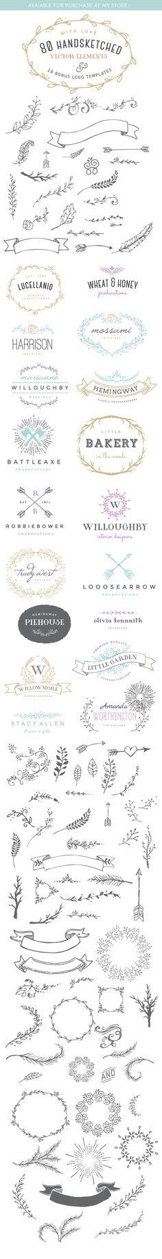 Hand Lettering Decorations: 80 Handsketched Vector Elements and Logo templates on Behance