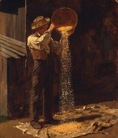 "Eastman Johnson: ""Winnowing Grain"", 1873–79, oil on cardboard, Museum of Fine Arts, Boston."