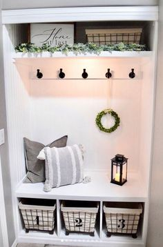 Closet drop zone with headboard background, built-in bench, and lots of baskets and hooks for storage. Front Closet, Entry Closet, Closet Mudroom, Entryway Storage, Entryway Decor, Entryway Ideas, Closet Storage, Bench In Entryway, Closet Bench