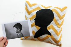 How to create a custom portrait pillow from a photograph. Makes a great gift! #DIY #pillow