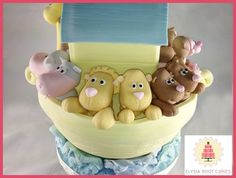 Noah's Ark inspired children's cake with cuddly lions and hippos. #BabysFirstBirthday