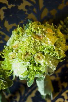 bouquet, Green cabbage roses, green spider mums, green hydrangea, and green carnations made up this totally green bouquet