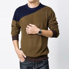 Men's slim bottoming round neck cotton blended knit sweater pullover