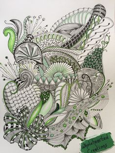 ZIA Zentangle zendoodle zenspiration dangles doodle colour green aquafleur cadent funnls intwine shattuck oringel ribbons flower leaves #wholehearted By Melissa