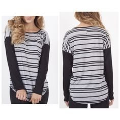 NEWBLACK AND GREY LONG SLEEVE STRIPED TOP Enjoy complete comfort in this scoop neck striped top w black sleeves!  Super soft and comfy!! ⭐️Small - 1 ⭐️Medium - 2 ⭐️Large - 1 Please comment size needed below and I will make a listing just for you!  If you would like a bundle allow me to make one for you instead of using the automated feature  NO PAYPAL NO TRADES. Price firm unless bundled. Tops