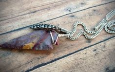 Bohemian Ethnic Earthy Arrowhead Stone Wire by Cheshujewelry, $26.00