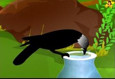 The thirsty crow drinks the water English Moral Stories, Short Moral Stories, English Stories For Kids, Moral Stories For Kids, Short Stories For Kids, English Story, Reading Stories, Picture Story For Kids, Crow Pictures
