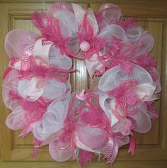 Deco Mesh Wreath Form   Pink Baby Deco Mesh Wreath w/ a Touch of Chevron Pink Ribbon (perfect ...