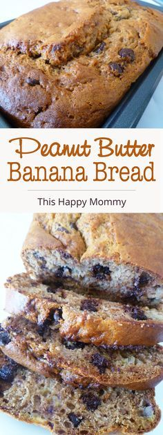 Naturally sweetened banana bread filled with peanut butter and melted chocolate chips. | thishappymommy.com