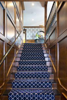 Black and white patterned stair runner Molding!!!