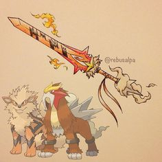 Pokeapon Fusion - Arcanine & Entei. Request by @ethan_c_511.