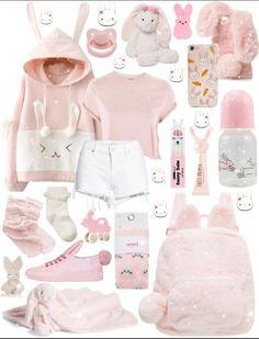 Pink/White Fem Nonbinary Bunny LittleSpace Outfit for @ anon 🌸🐰 Harajuku Fashion, Kawaii Fashion, Cute Fashion, Fashion Outfits, Fashion Mode, Lolita Fashion, Japanese Fashion, Korean Fashion, Doll Style