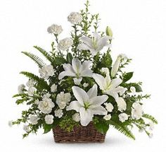 Order Peaceful White Lilies Basket flower arrangements from All Flowered Up Too, your local Lubbock, TX florist. Send Peaceful White Lilies Basket floral arrangement throughout Lubbock and surrounding areas. Basket Flower Arrangements, Funeral Floral Arrangements, Altar Flowers, Church Flowers, Beautiful Flower Arrangements, Beautiful Flowers, Flower Baskets, Ikebana, Funeral Bouquet
