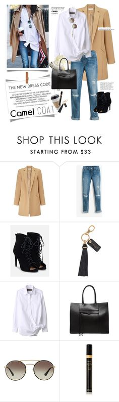 """""""Camel Season"""" by barngirl ❤ liked on Polyvore featuring Miss Selfridge, White House Black Market, JustFab, OUTRAGE, Henri Bendel, Rebecca Minkoff, Prada, Oribe, Cole Haan and Tiffany & Co."""