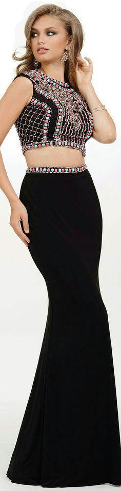 ❤ JOVANI 2-PIECE In Black w. Bejewelled Beaded Waist Belt on Skirt & Intricate  Bejewelled Beaded Halter Top on Gown #34015❤